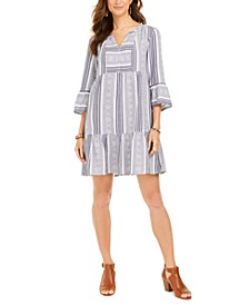 Petite Cotton Printed Bell-Sleeve Dress, Created for Macy's