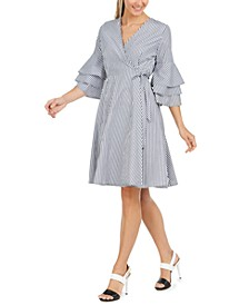 Cotton Tiered-Sleeve Wrap Dress