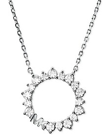 """Sterling Silver Cubic Zirconia & Logo Pendant Necklace, 16"""" + 2"""" extender"""