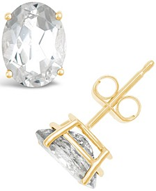 White Topaz (3-1/5 ct. t.w.) Stud Earrings in 14K White or Yellow Gold