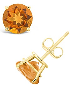 Round-Cut Gemstone Stud Earrings in 14K Yellow Gold