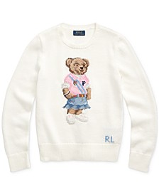 Big Girls Spring Bear Cotton Sweater