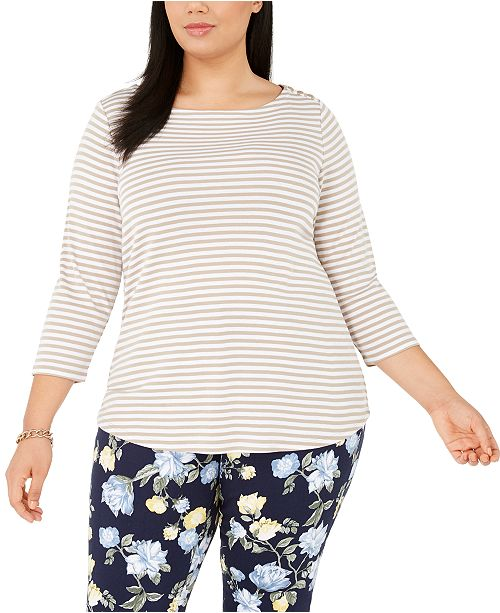 Charter Club Plus Size Cotton Printed 3/4-Sleeve Top, Created for Macy's