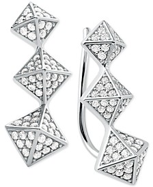 Cubic Zirconia Triple-Pyramid Climber Earrings