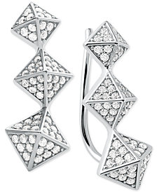 Michael Kors Cubic Zirconia Triple-Pyramid Climber Earrings