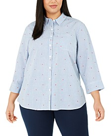 Plus Size Printed Button-Front Cotton Top, Created For Macy's