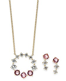 Gold-Tone 2-Pc. Set Cubic Zirconi & Glass Circle Pendant Necklace & Matching Drop Earrings, Created for Macy's