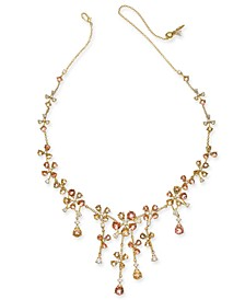 """18K Gold-Plated Crystal Flower 18"""" Statement Necklace, Created for Macy's"""