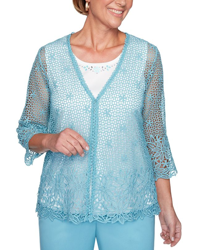 Alfred Dunner Chesapeake Bay Crochet-Lace 2-For-1 Sweater