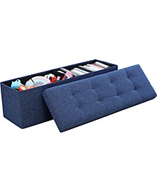 "Posh Habitat by Ornavo Foldable Linen Tufted Large Bench Storage Ottoman - 15"" x 45"" x 15"""