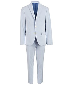 Big Boys Blue/White Stripe Seersucker Suit Separates