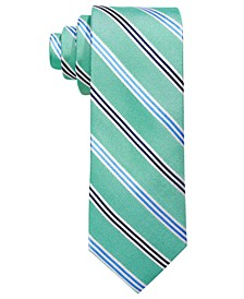 Big Boys Green Stripe Silk Tie