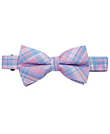 Big Boys Pink Pre-Tied Madras Plaid Silk Bow Tie