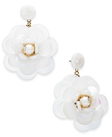 INC Gold-Tone Imitation Pearl White Flower Drop Earrings, Created for Macy's