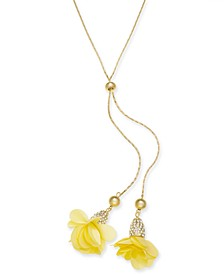 "INC Fabric-Flower 37"" Lariat Necklace, Created for Macy's"