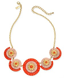 "INC Gold-Tone Coral Circle Fringe Frontal Necklace, 18"" + 3"" extender, Created for Macy's"