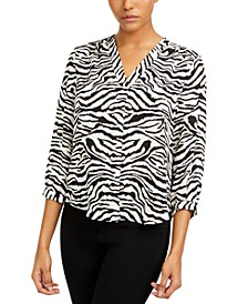 Tiger-Print V-Neck Top