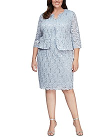 Plus Size Lace Dress and Jacket