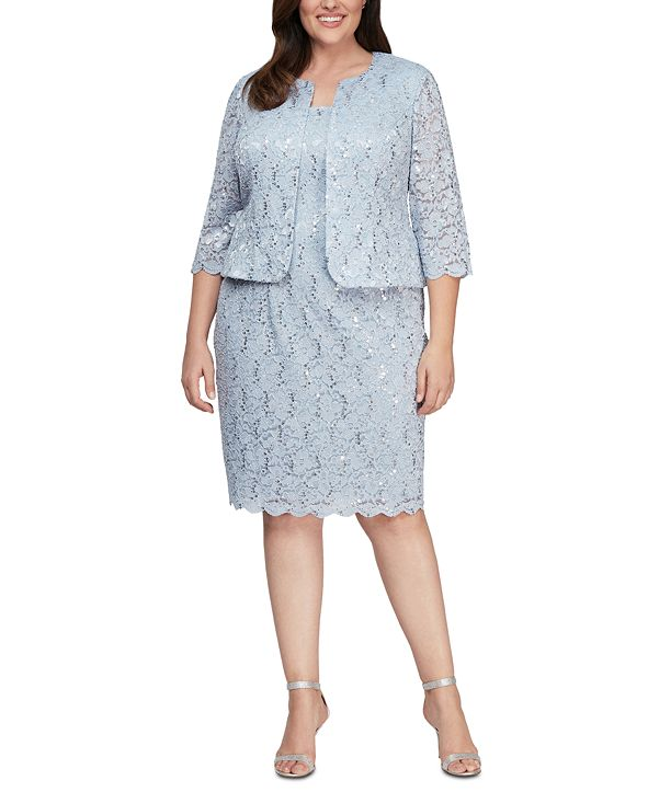 Alex Evenings Plus Size Lace Dress and Jacket