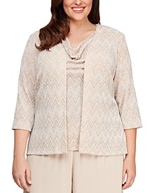 Plus Size Geometric Geo-Print Jacket and Top