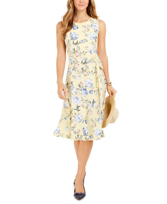 Charter Club - Floral-Print Midi Knit Dress