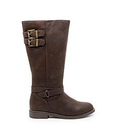 Little and Big Girls Brown Riding Boots