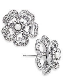 INC Silver-Tone Imitation Pearl & Crystal 3D Flower Stud Earrings, Created for Macy's