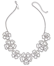 "INC Silver-Tone Crystal 3D Flower Frontal Necklace, 18"" + 3"" extender"