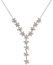 "INC Silver-Tone Pavé & Imitation Pearl Flower Lariat Necklace, 24"" + 3"" extender, Created for Macy's"