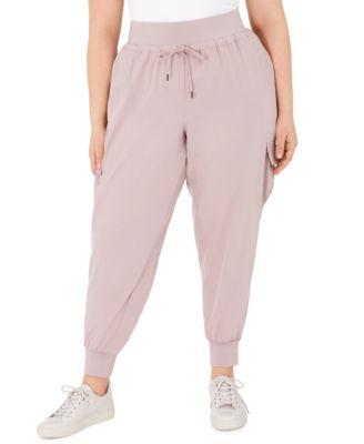 1X Heather Grey Tommy Hilfiger Womens Plus Size Logo Jogger Sweatpant Lounge Pant Bottom Pajama Pj