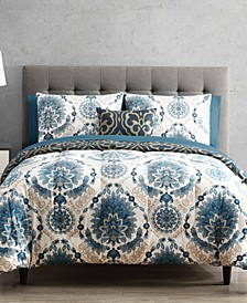 Scroll Medallion 9-Pc. Reversible Twin Comforter Set