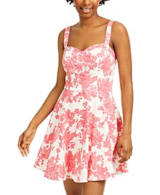 Juniors' Cutout Floral-Print Fit & Flare Dress