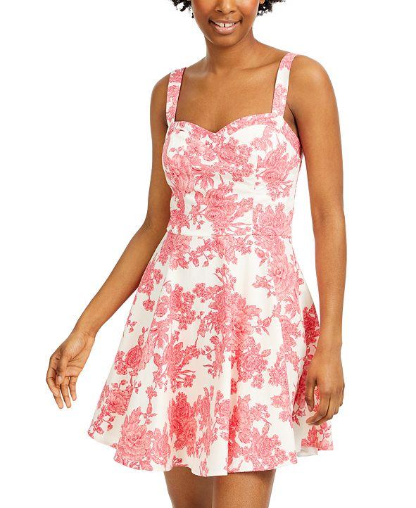 City Studios Juniors' Cutout Floral-Print Fit & Flare Dress
