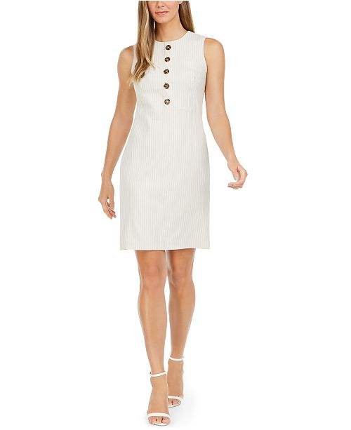 Calvin Klein Button-Trim Striped Sheath Dress