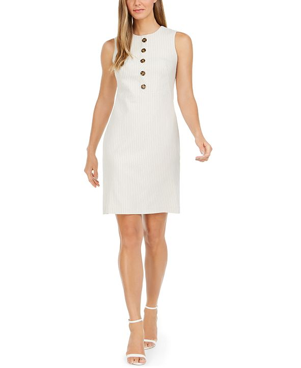 Calvin Klein Button-Trim Striped Sheath Dress