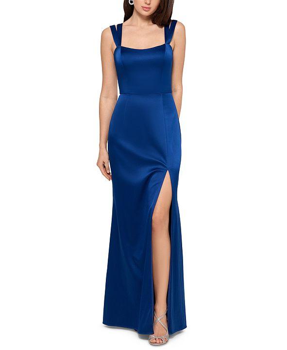 XSCAPE Double-Strap Satin Gown