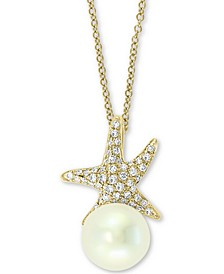 "EFFY® Cultured Freshwater Pearl (8mm) & Diamond (1/6 ct. t.w.) Starfish 18"" Pendant Necklace in 14k Gold"