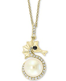 "EFFY® Cultured Freshwater Pearl (8mm) & Diamond (1/6 ct. t.w.) Seahorse 18"" Pendant Necklace in 14k Gold"