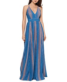 Metallic-Stripe Gown