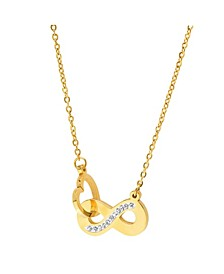 18K Micron Gold Plated Stainless Steel Intertwined Heart Infinity Sign Pendant Necklace