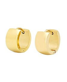 Ladies 18K Micron Gold Plated Stainless Steel Thick Huggie Earrings