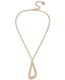 "Gold-Tone Sculptural Open Pendant Necklace, 17"" + 3"" extender"
