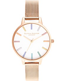Women's Rose Gold-Tone Stainless Steel Mesh Bracelet Watch 34mm