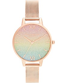 Women's Rainbow Rose Gold-Tone Stainless Steel Mesh Bracelet Watch 34mm