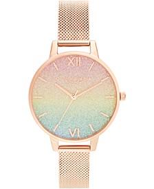 Women's Rainbow Rose Gold-Tone Stainless Steel Mesh Bracelet Watch 34mm