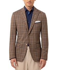 Orange Men's Slim-Fit Brown Plaid Sport Coat
