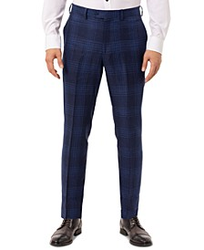 Men's Slim-Fit Blue Plaid Linen Suit Separate Pants