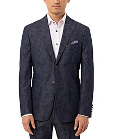 Men's Slim-Fit Navy Paisley Suit Separate Jacket