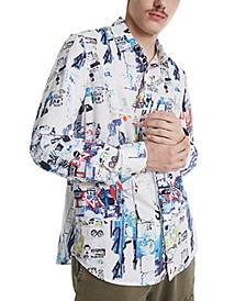 Men's Graffiti Print Shirt
