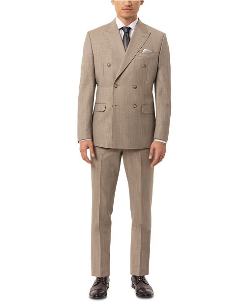 Tallia Men's Slim-Fit Olive Sharkskin Double Breasted Suit Separates